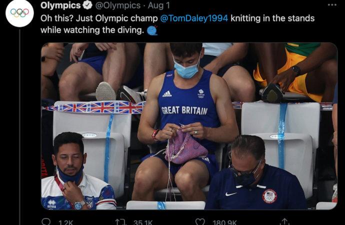 Tom Daley, U.K. gold medallist and world-class knitter